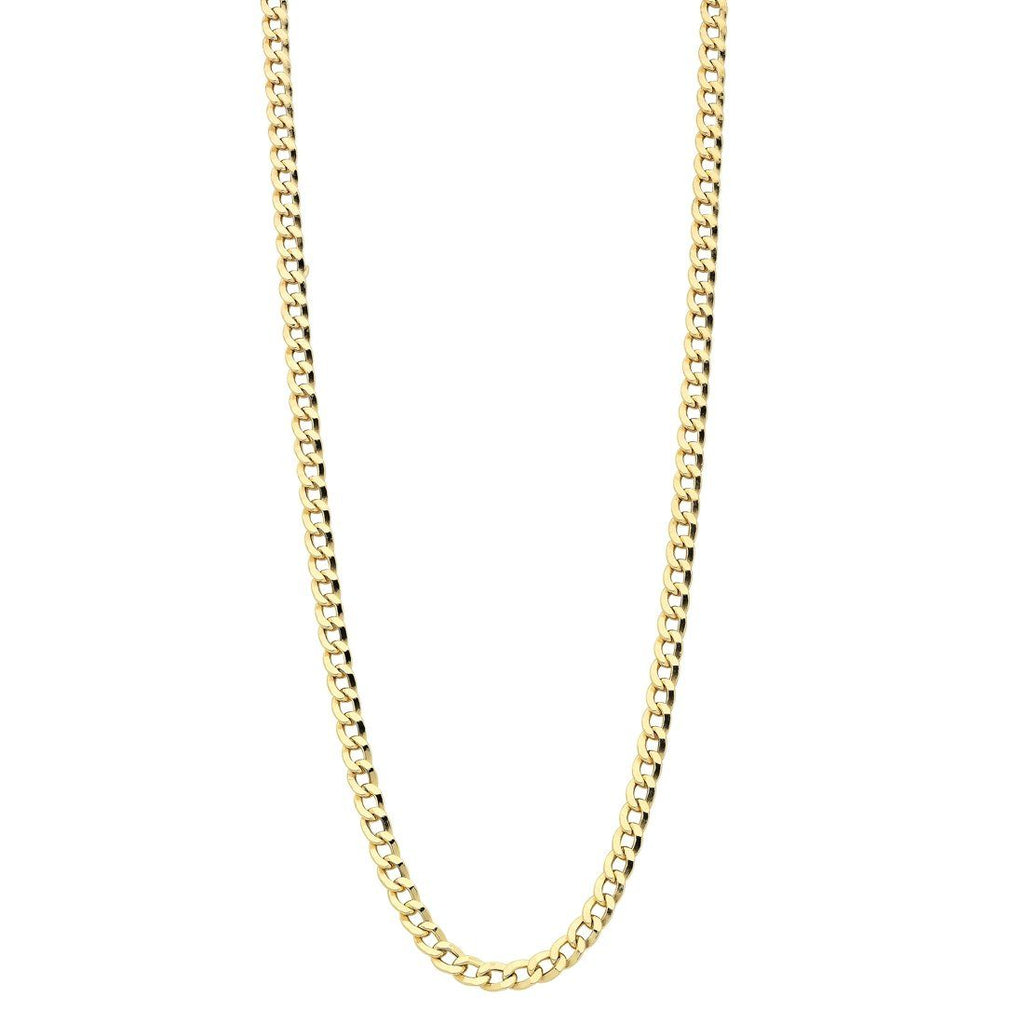 9ct Yellow Gold Hollow Curb Necklace 55cm Necklaces Bevilles