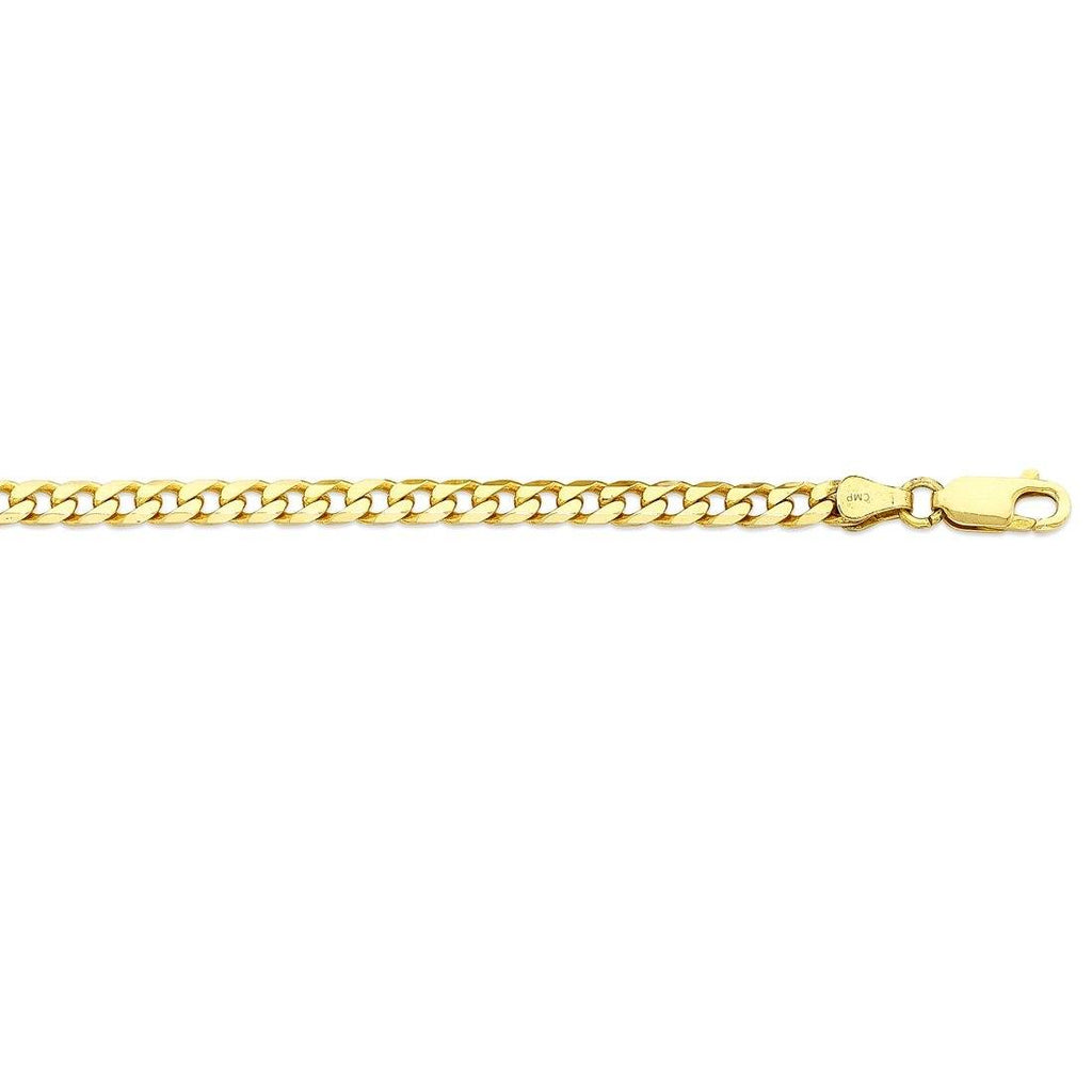 9ct Yellow Gold Solid Concave Curb Necklace 55cm Necklaces Bevilles