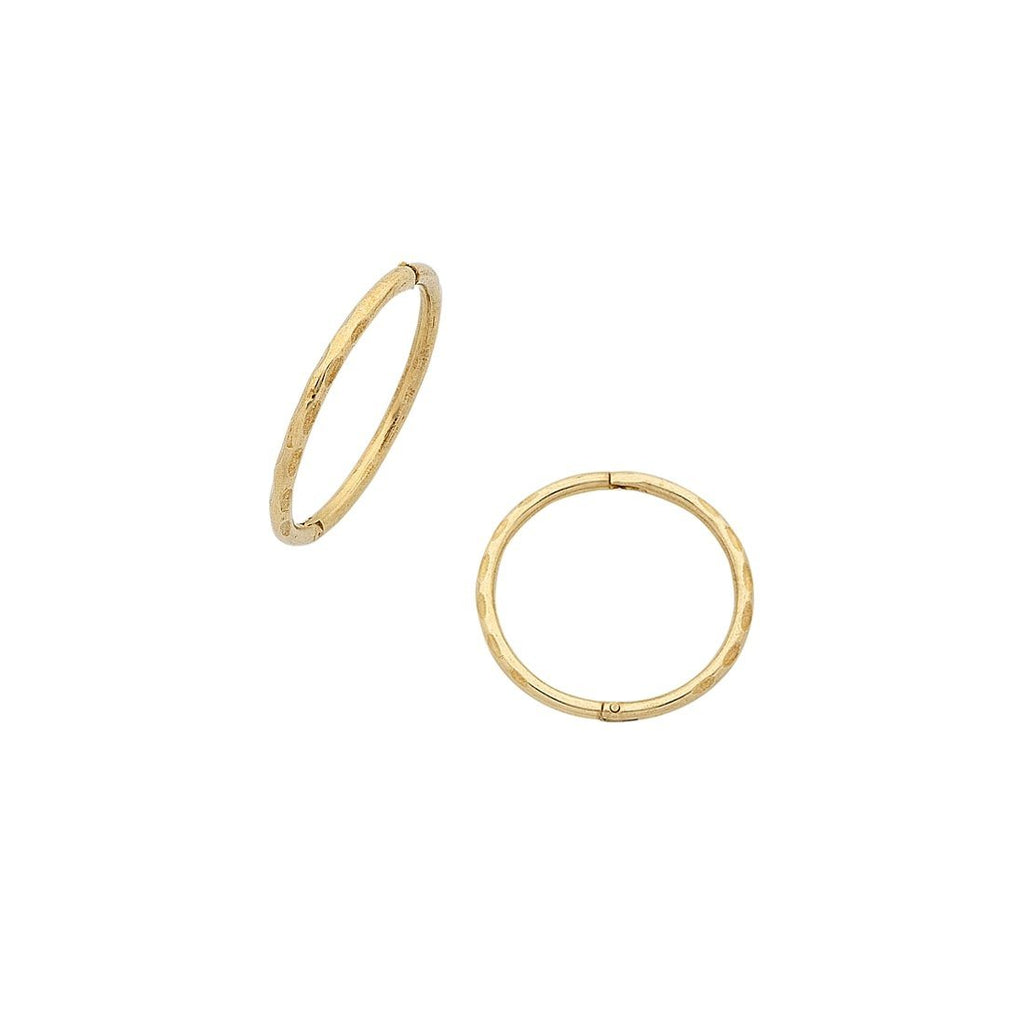 9ct Yellow Gold 12mm Hinged Sleeper Earrings Earrings Bevilles