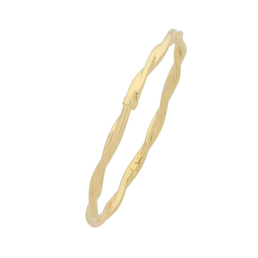 9ct Yellow Gold Twist Bangle Bracelets Bevilles