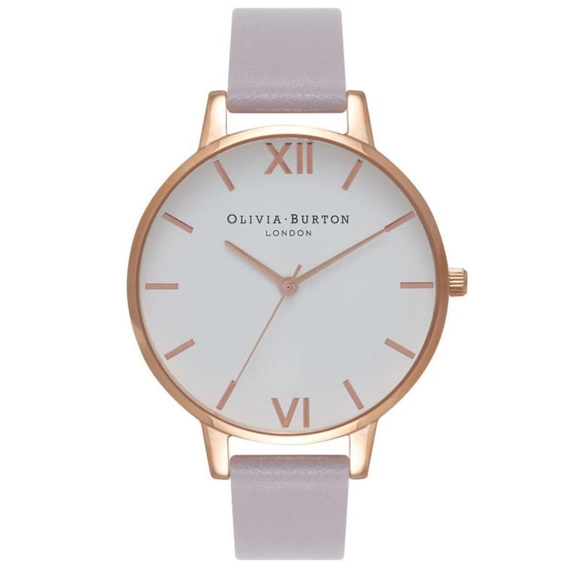 Olivia Burton Rose Gold Lilac Leather Watch OB16BDW16