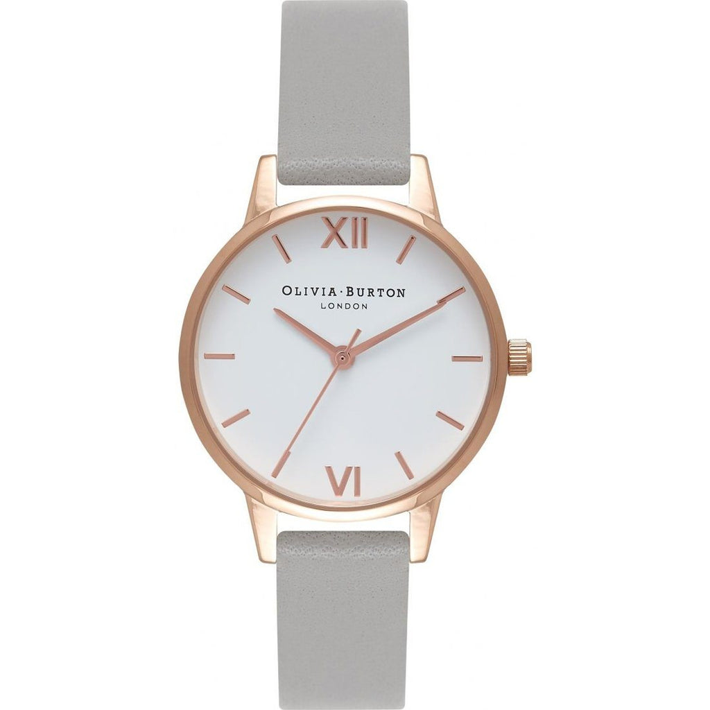 Olivia Burton Rose Gold Grey Leather Watch OB16MDW05