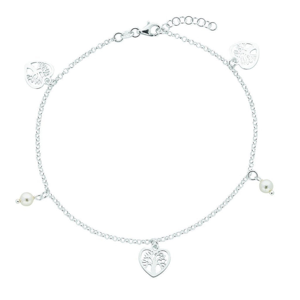 Sterling Silver Tree of Life Charm Anklet