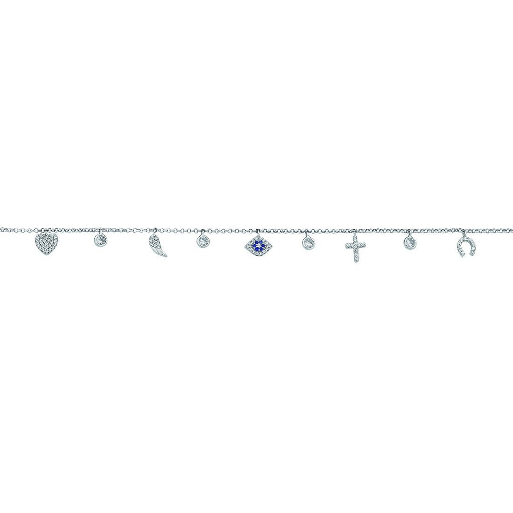Sterling Silver Cubic Zirconia 9 Charm Anklet