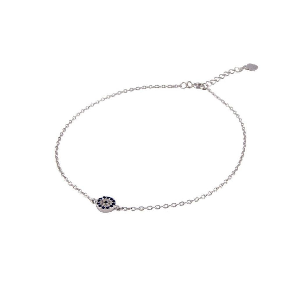 Sterling Silver White and Blue Cubic Zirconia Evil Eye Bracelet