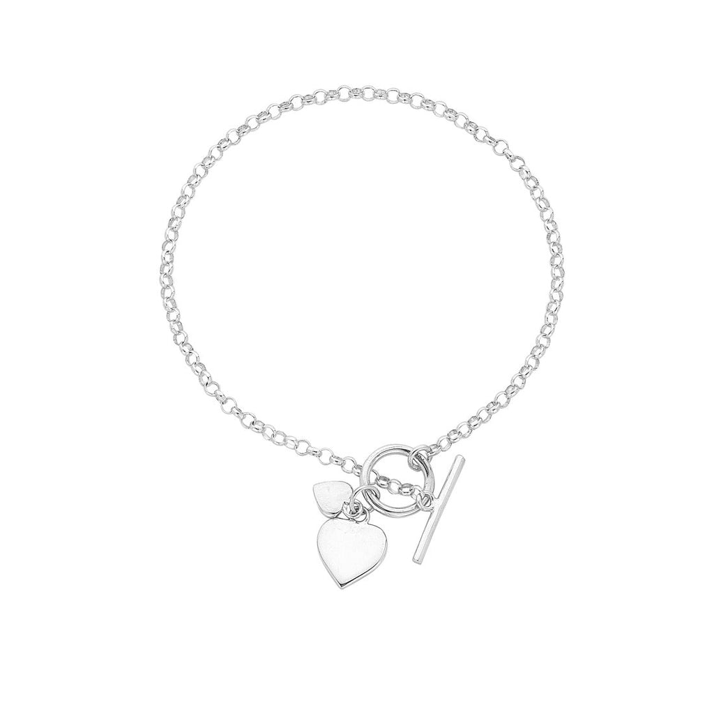 Sterling Silver Heart Charm Toggle Belcher Bracelet