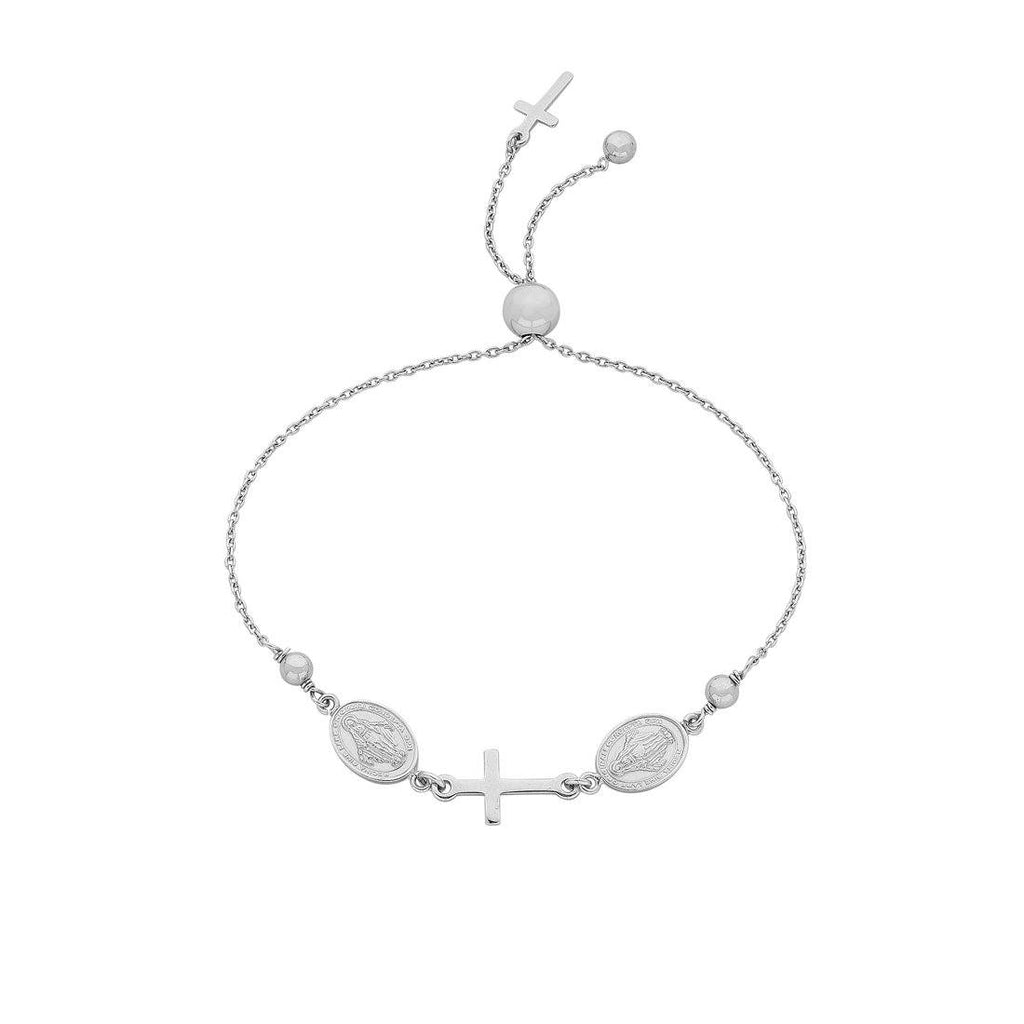 Sterling Silver Cross & Disc Bracelet