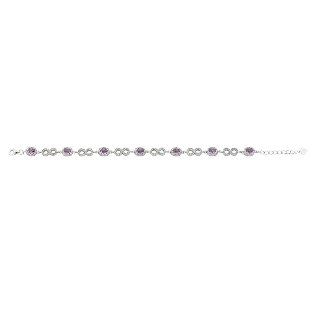 Sterling Silver Alternating Purple Cubic Zirconia and Infinity Link Necklace Necklaces Bevilles