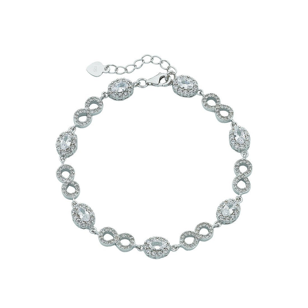 Sterling Silver Alternating Oval and Infinity Cubic Zirconia Bracelet