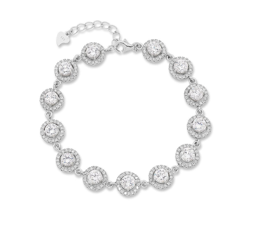 Sterling Silver Cubic Zirconia Circle Link Bracelet