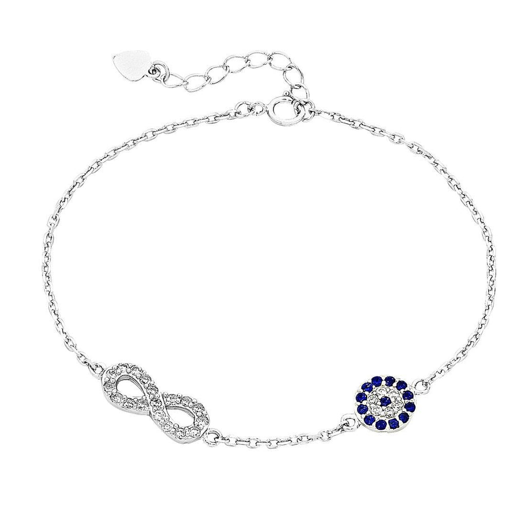 Sterling Silver Infinity and Evil Eye Bracelet