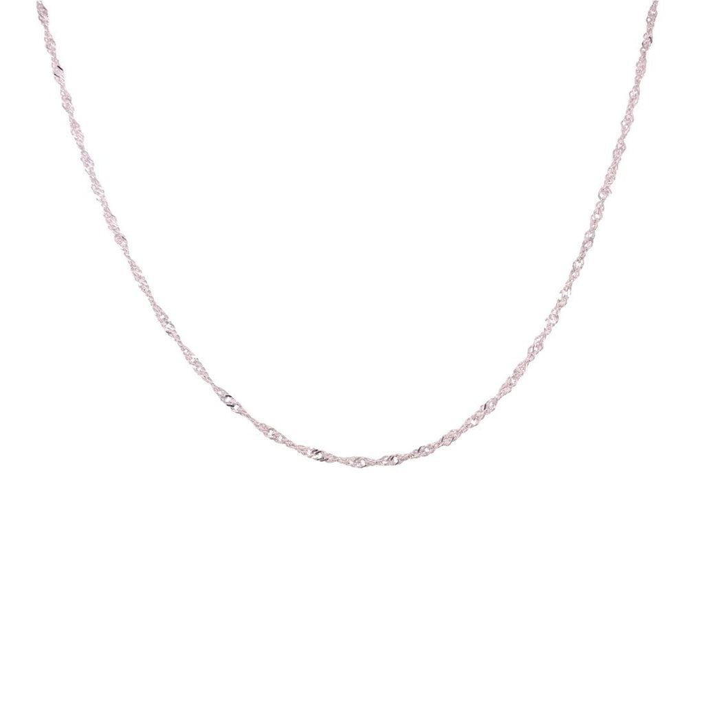 Sterling Silver 45cm Singapore Twist Chain Necklace