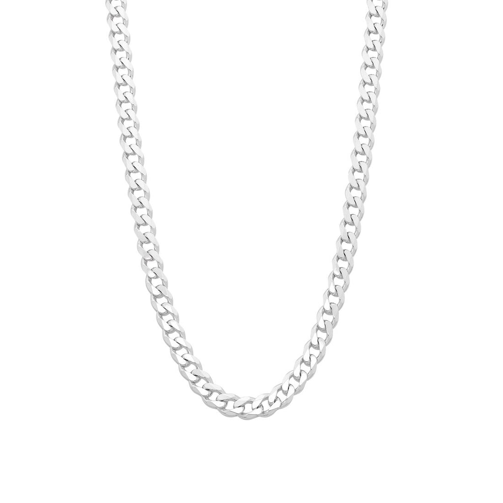 Sterling Silver Flat Curb Necklace 60cm