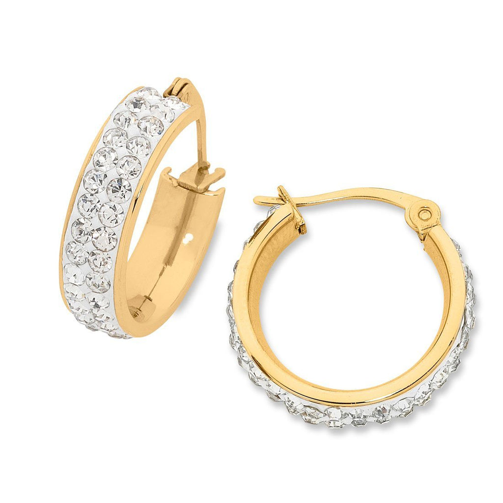 Yellow Stainless Steel Pave Crystal Hoop Earrings 20mm Earrings Bevilles