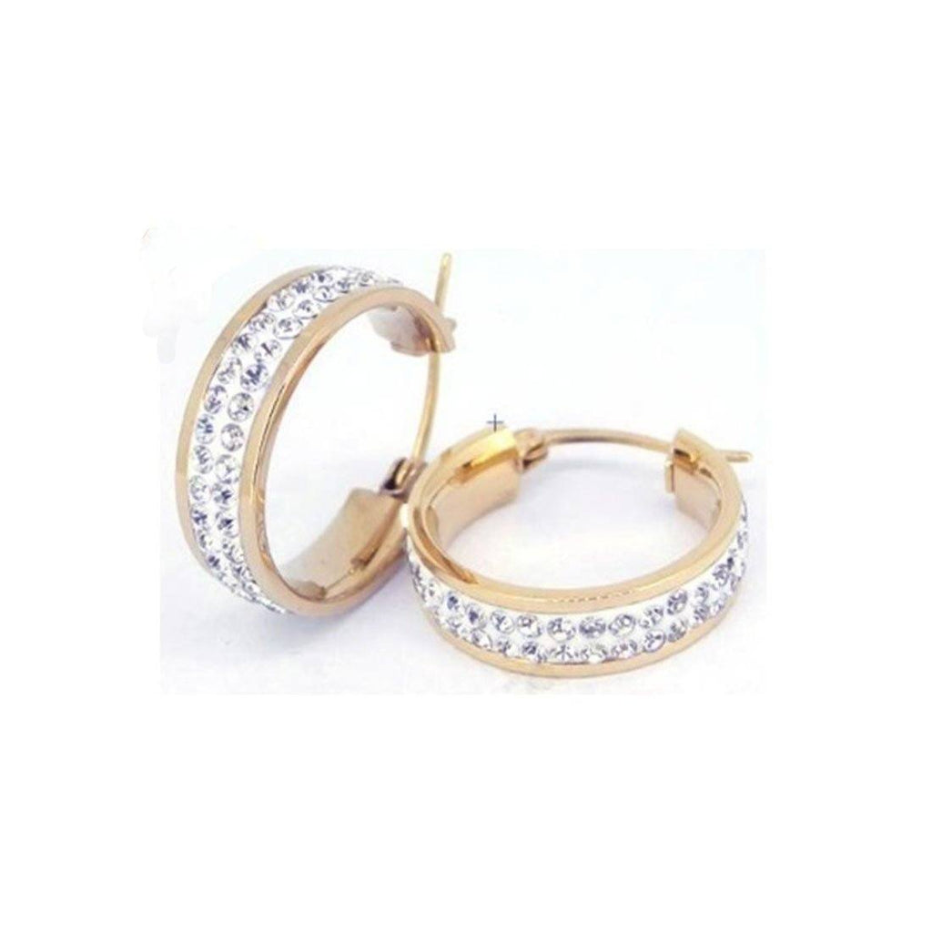 20mm Rose Stainless Steel Pave Crystal Hoop Earrings Earrings Bevilles