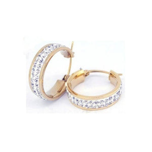 20mm Rose Stainless Steel  Pave Crystal Hoop Earrings