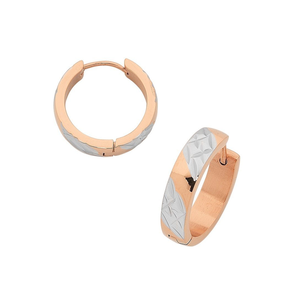 Two Tone Rose Stainless Steel Hoop Earrings Earrings Bevilles