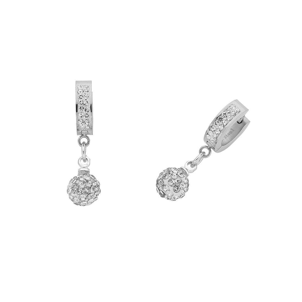 Stainless Steel Hoop and Pave Crystal Ball Earrings