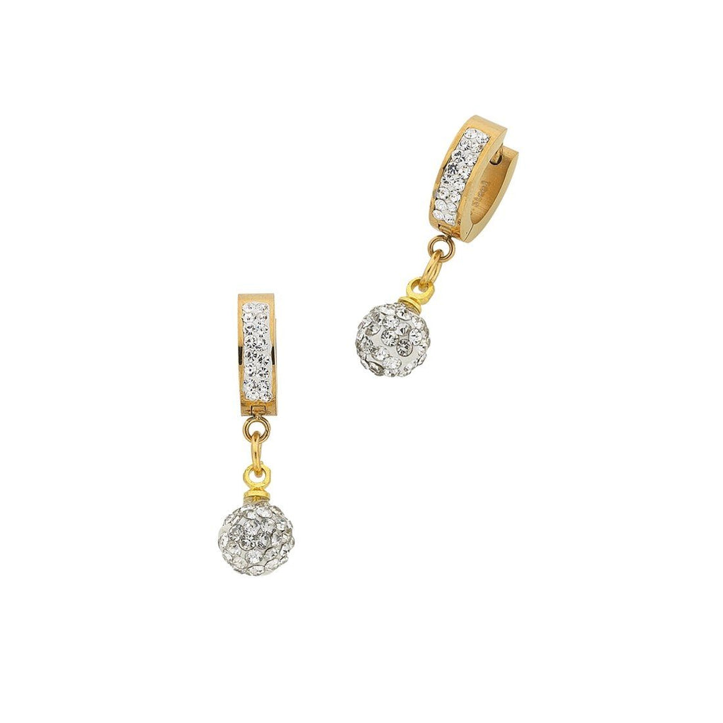Stainless Steel Hoop with Pave Crystal Ball Earrings