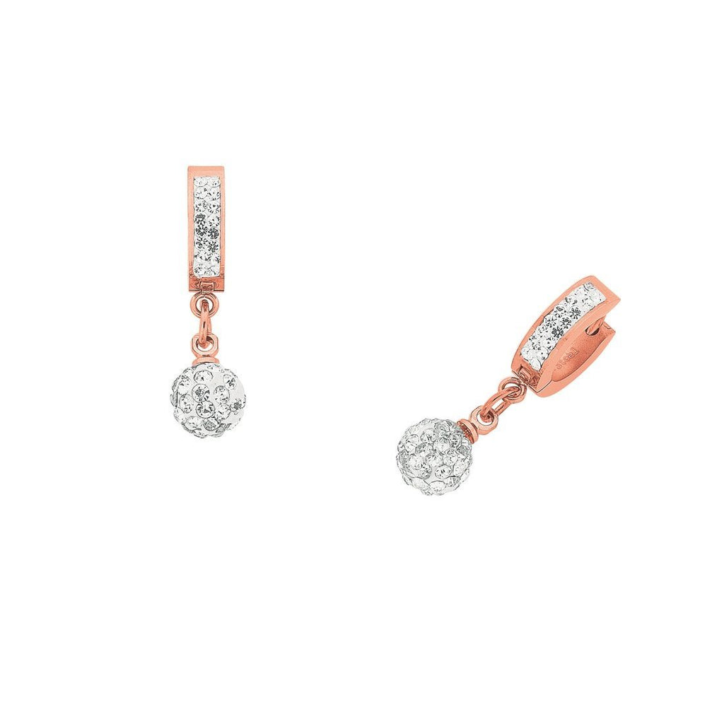 Rose Stainless Steel Hoop with Pave Crystal Ball Earrings