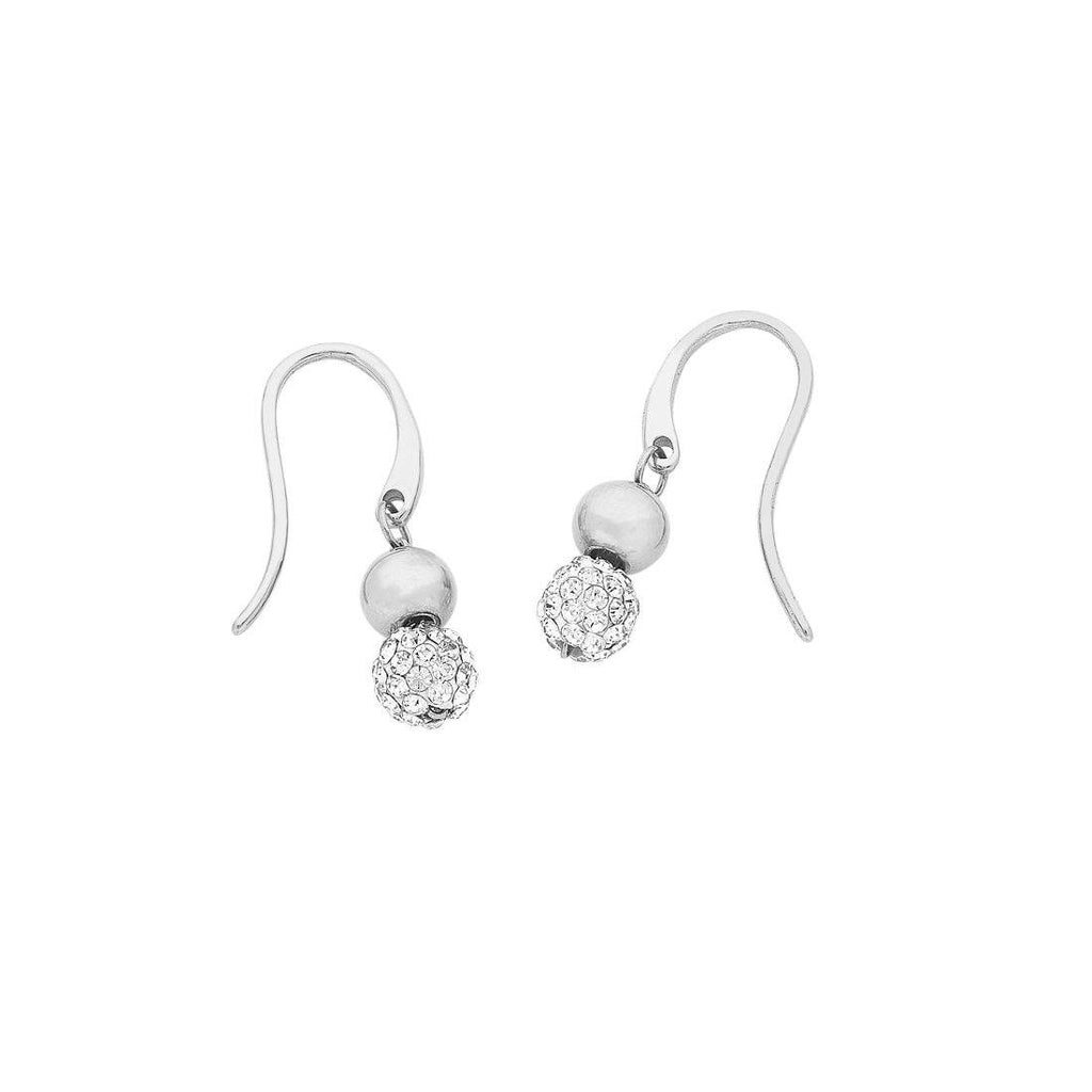 Silver Stainless Steel Sparkle Ball Drop Earrings Earrings Bevilles