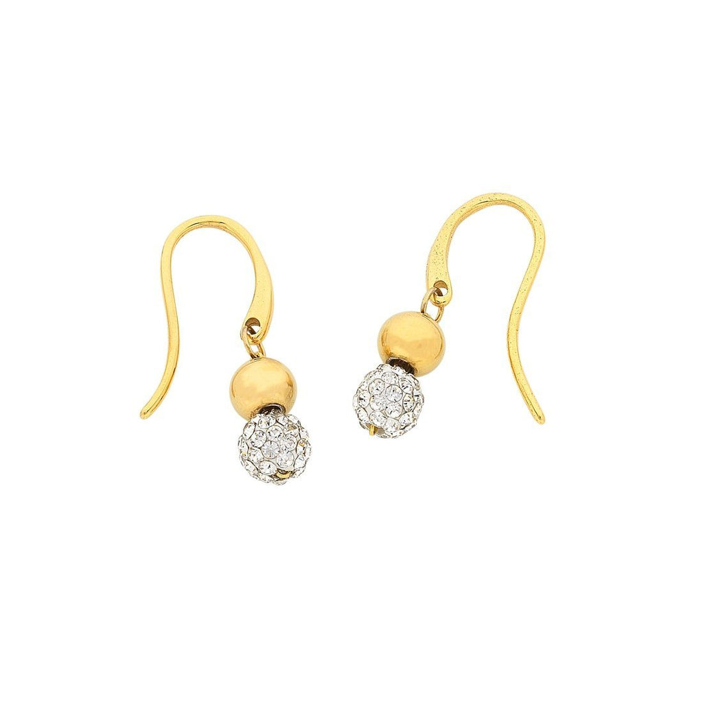 Yellow Gold Stainless Steel Sparkle Ball Drop Earrings Earrings Bevilles