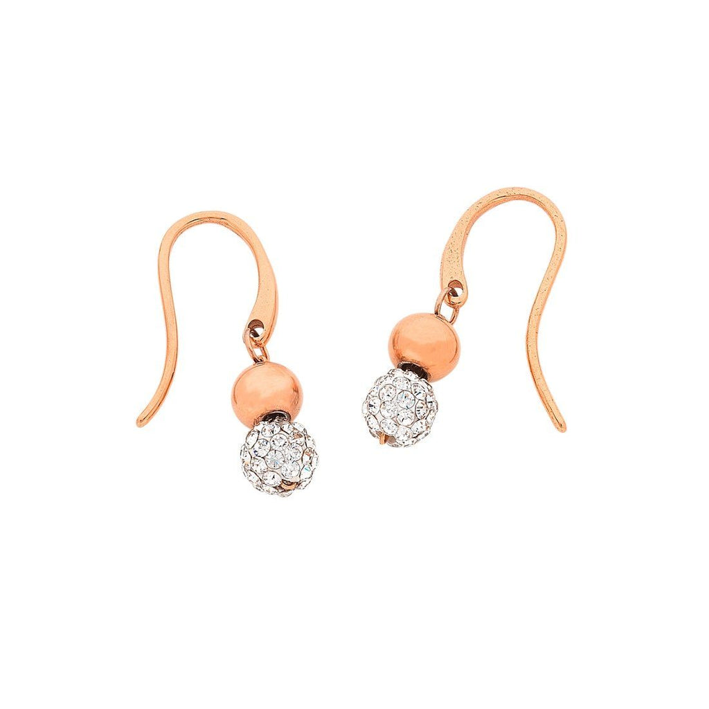 Rose Stainless Steel Sparkle Ball Drop Earrings Earrings Bevilles