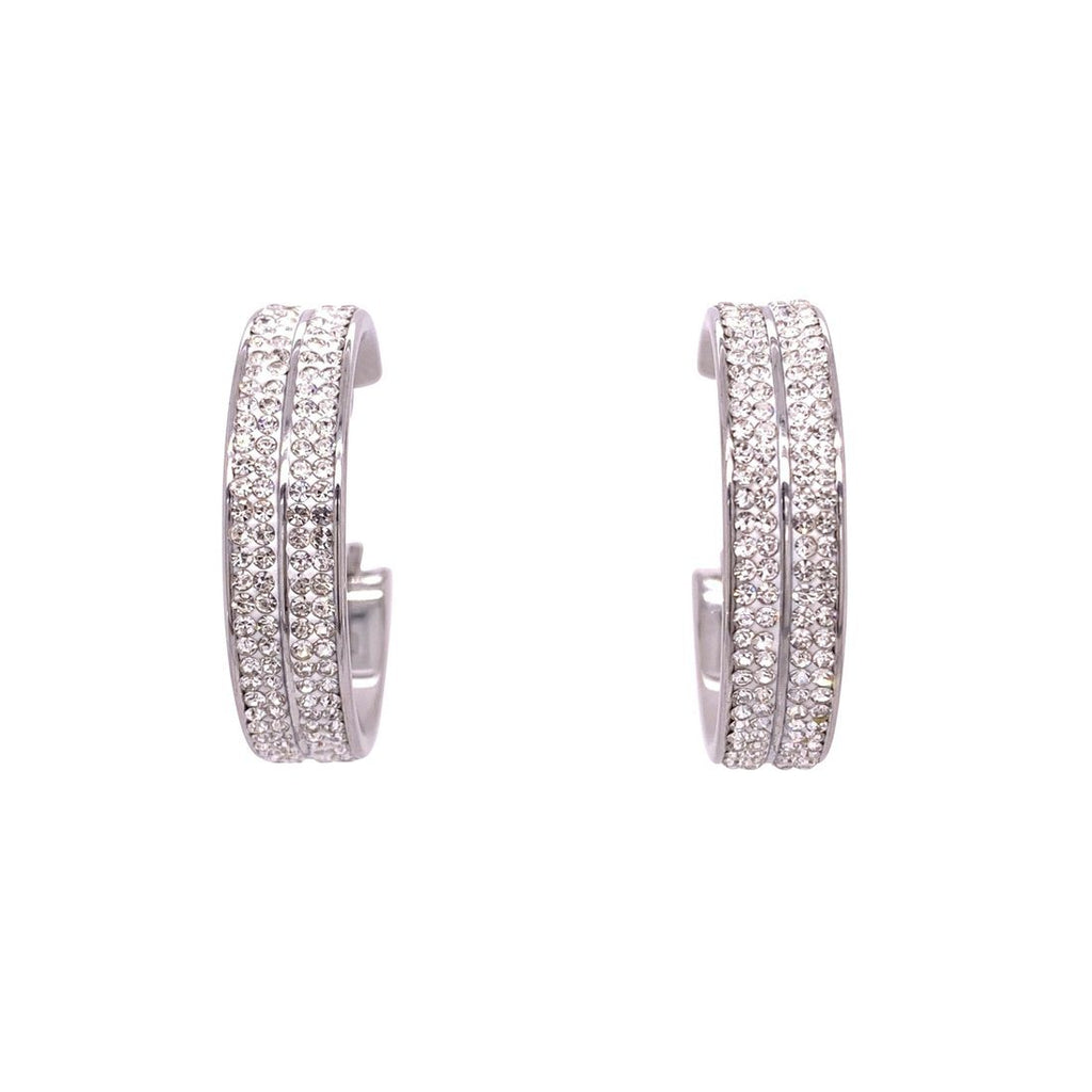 Stainless Steel Pave Crystal Hoop Earrings Earrings Bevilles