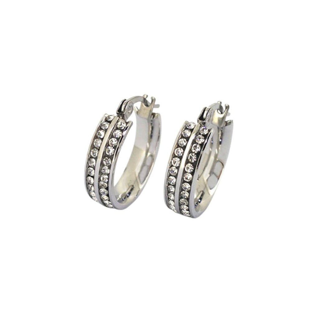 Stainless Steel Crystal Hoops Earrings Bevilles