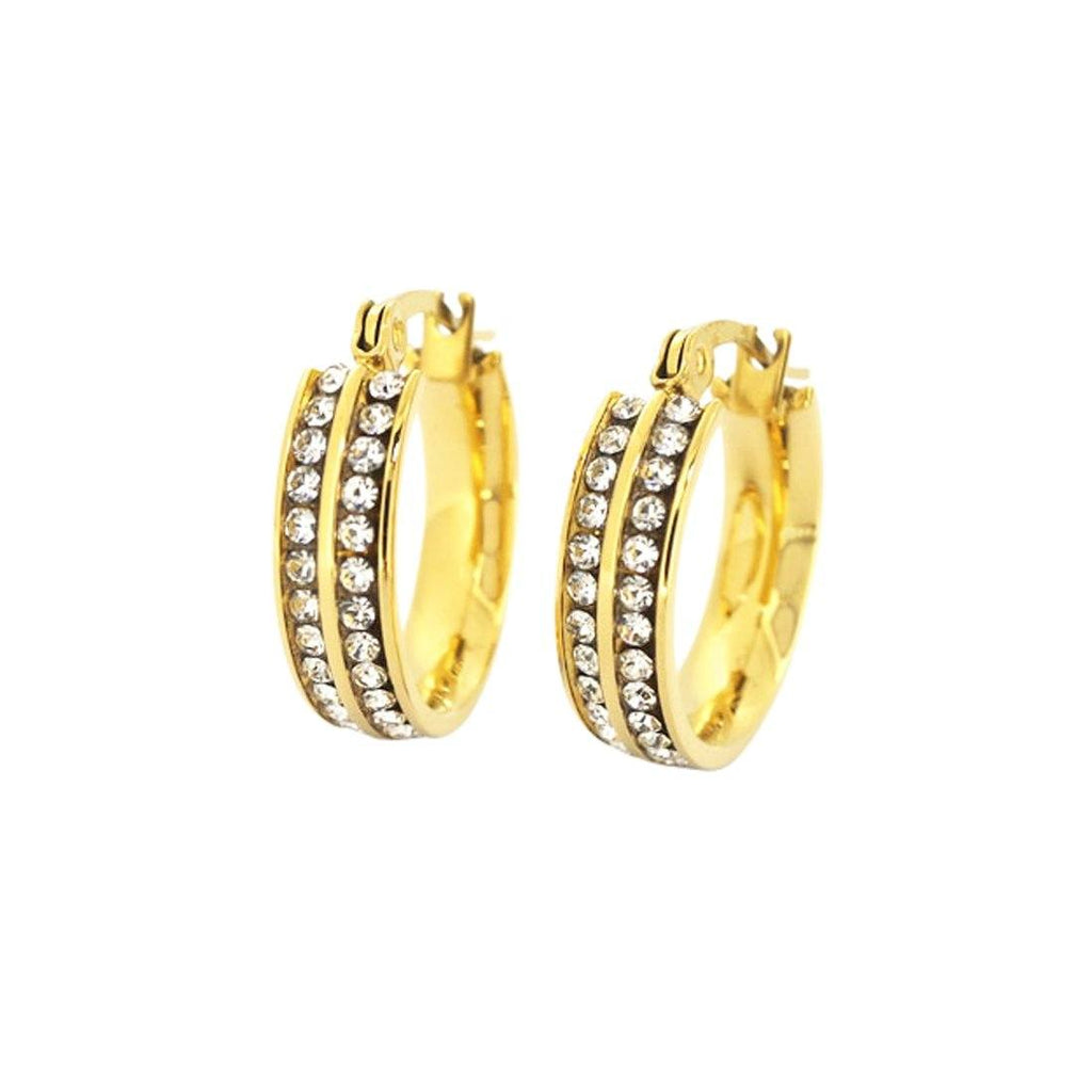 Stainless Steel Yellow Tone Crystal Hoops Earrings Bevilles