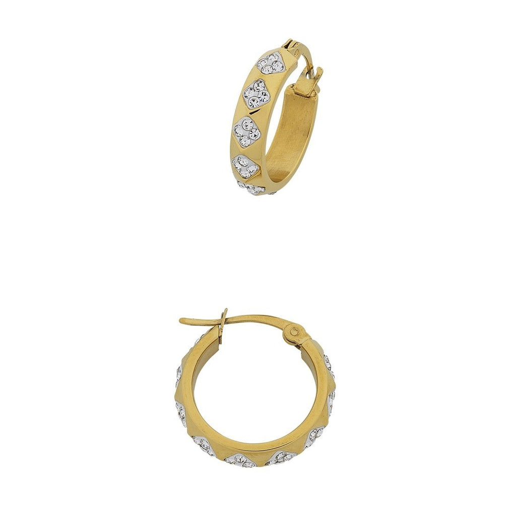 Stainless Steel Yellow Gold and Crystal Facet Hoops Earrings Bevilles