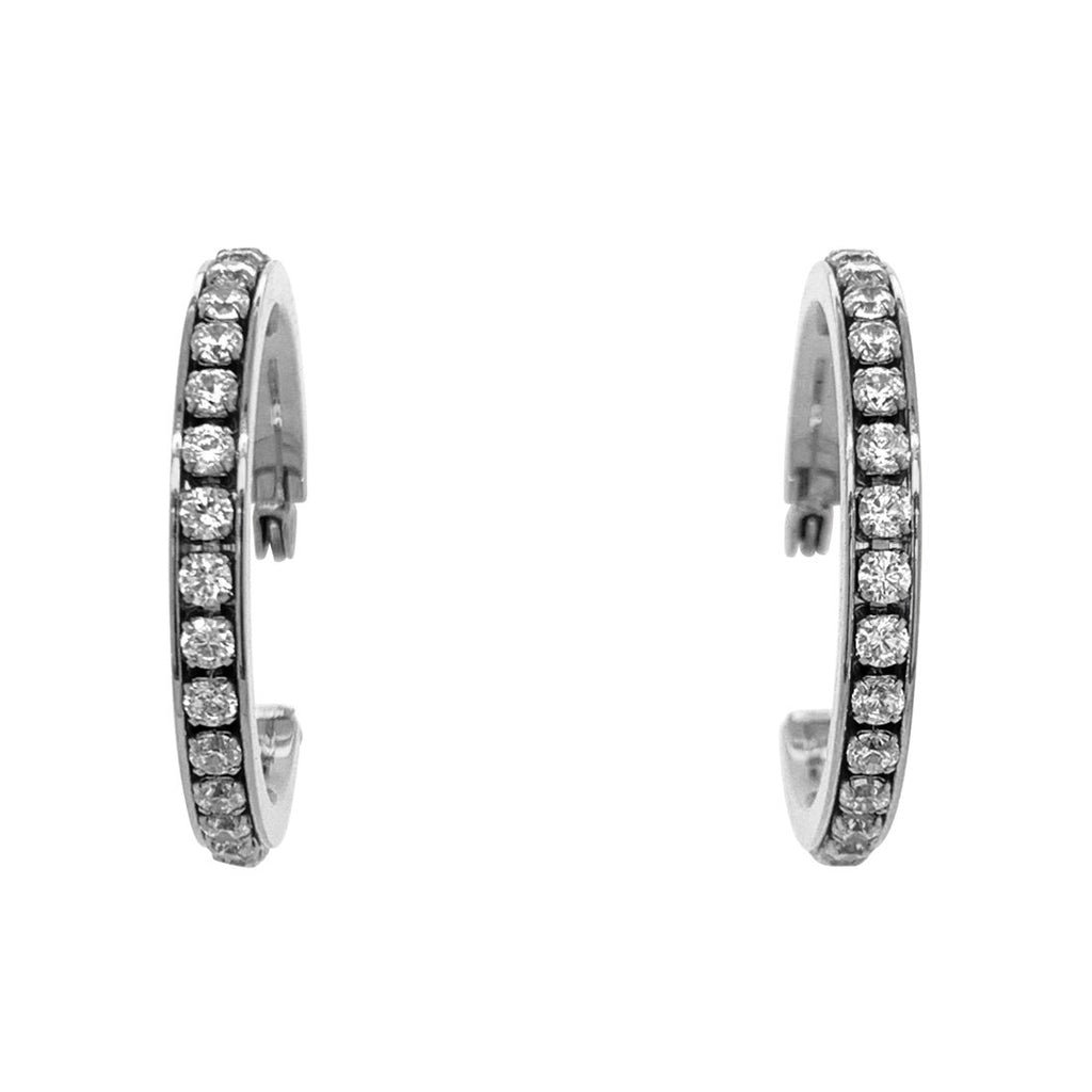 Stainless Steel Crystal Hoop Earrings 30mm