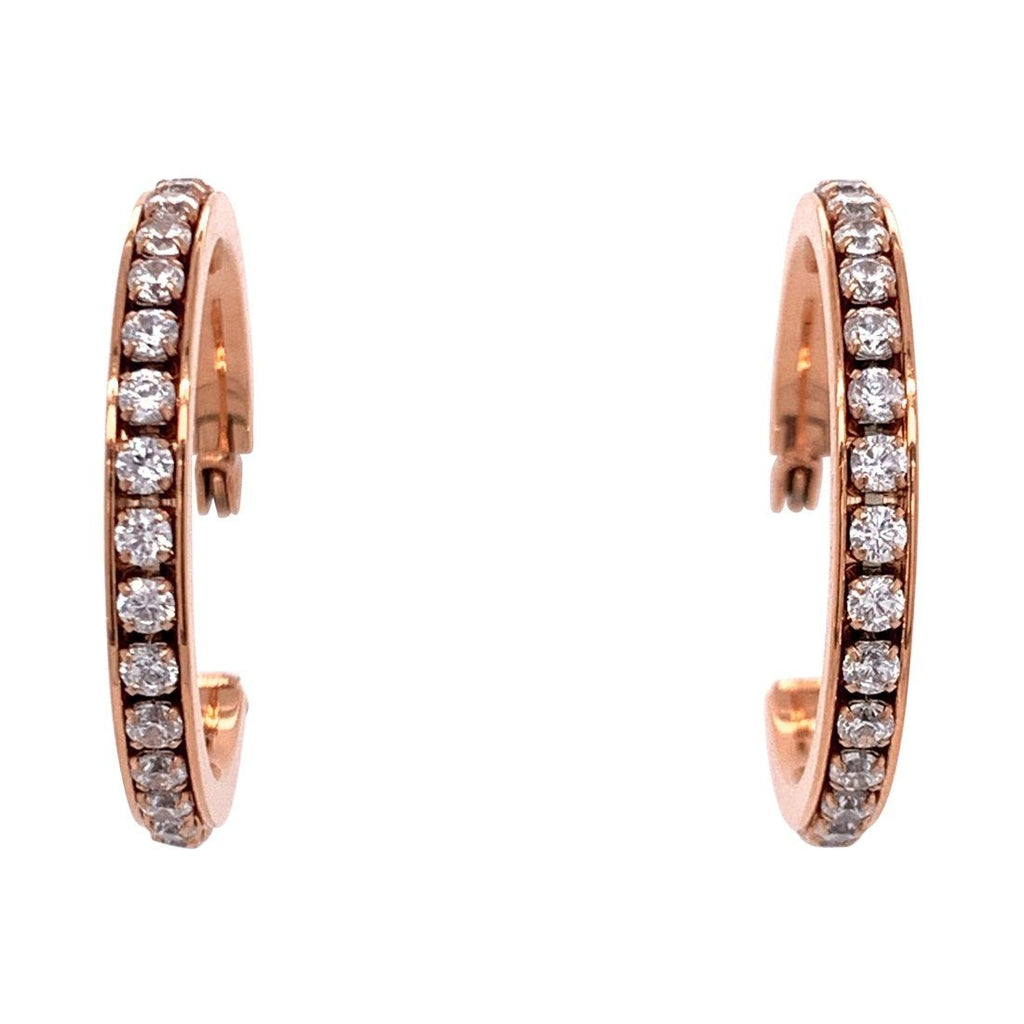 Rose Stainless Steel Crystal Hoop Earrings 30mm Earrings Bevilles