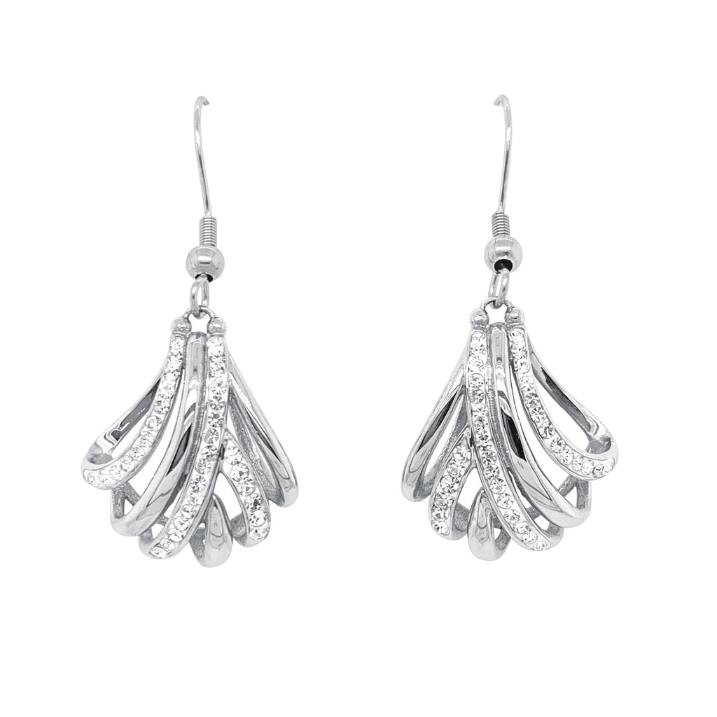 Stainless Steel Crystal Crossover Drop Earrings Earrings Bevilles