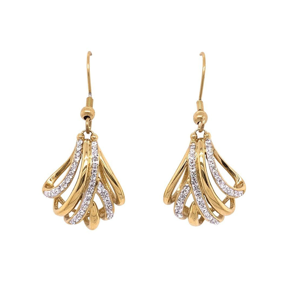 Yellow Stainless Steel Crystal Crossover Drop Earrings