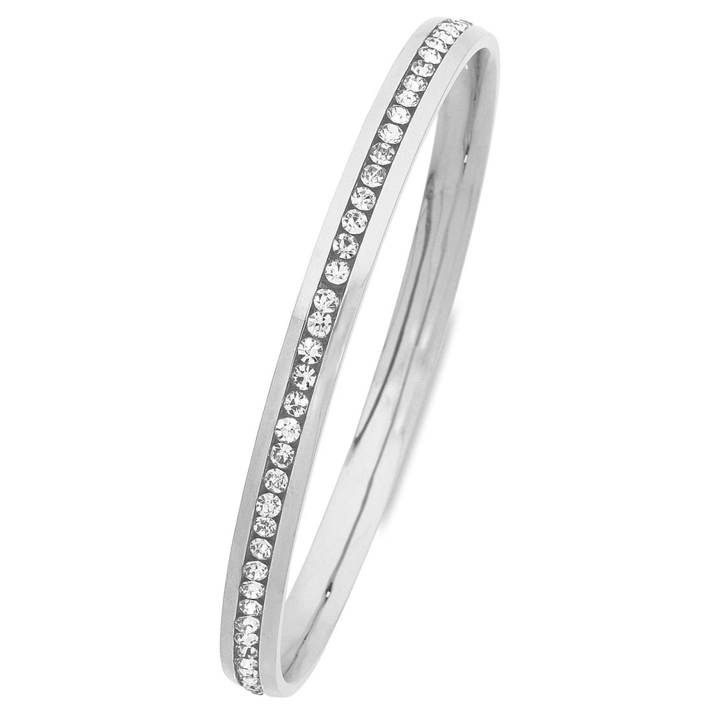 White Stainless Steel Channel Crystal Bangle