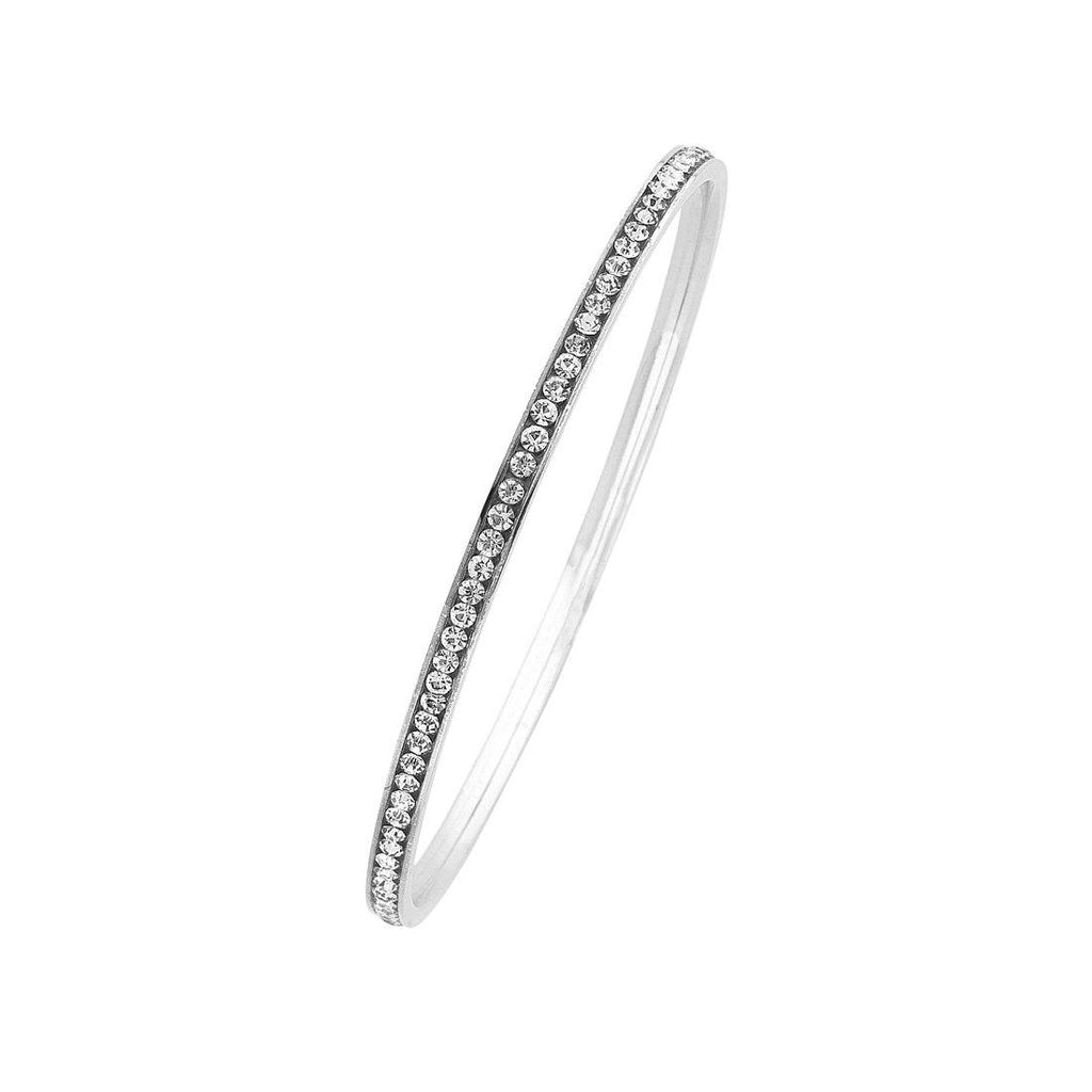 Silver Stainless Steel 3mm Crystal Channel Bangle