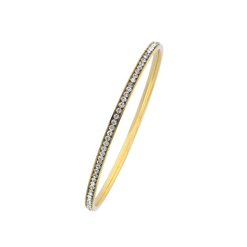 Yellow Stainless Steel 3mm Crystal Channel Bangle