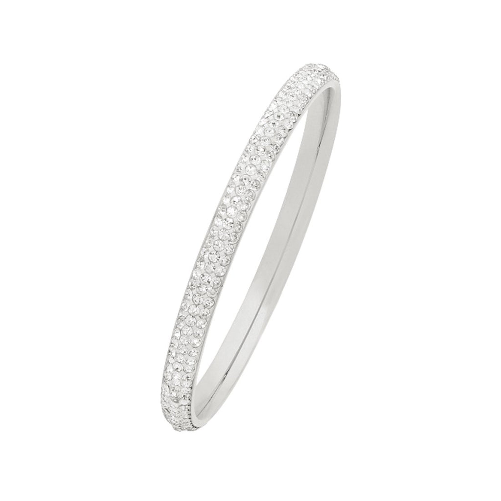 White Stainless Steel Pave Crystal Bangle 70mm