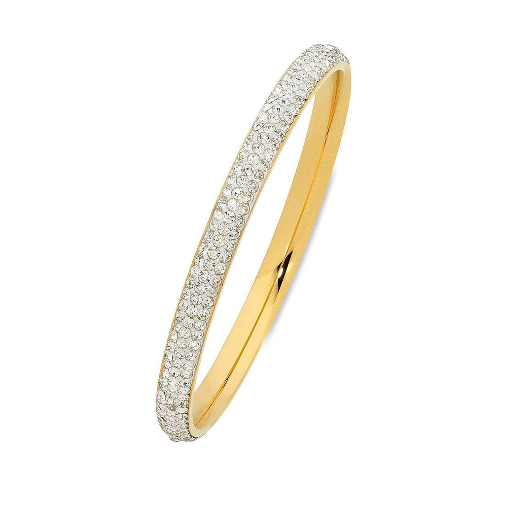 Yellow Stainless Steel Pave Crystal Bangle 70mm