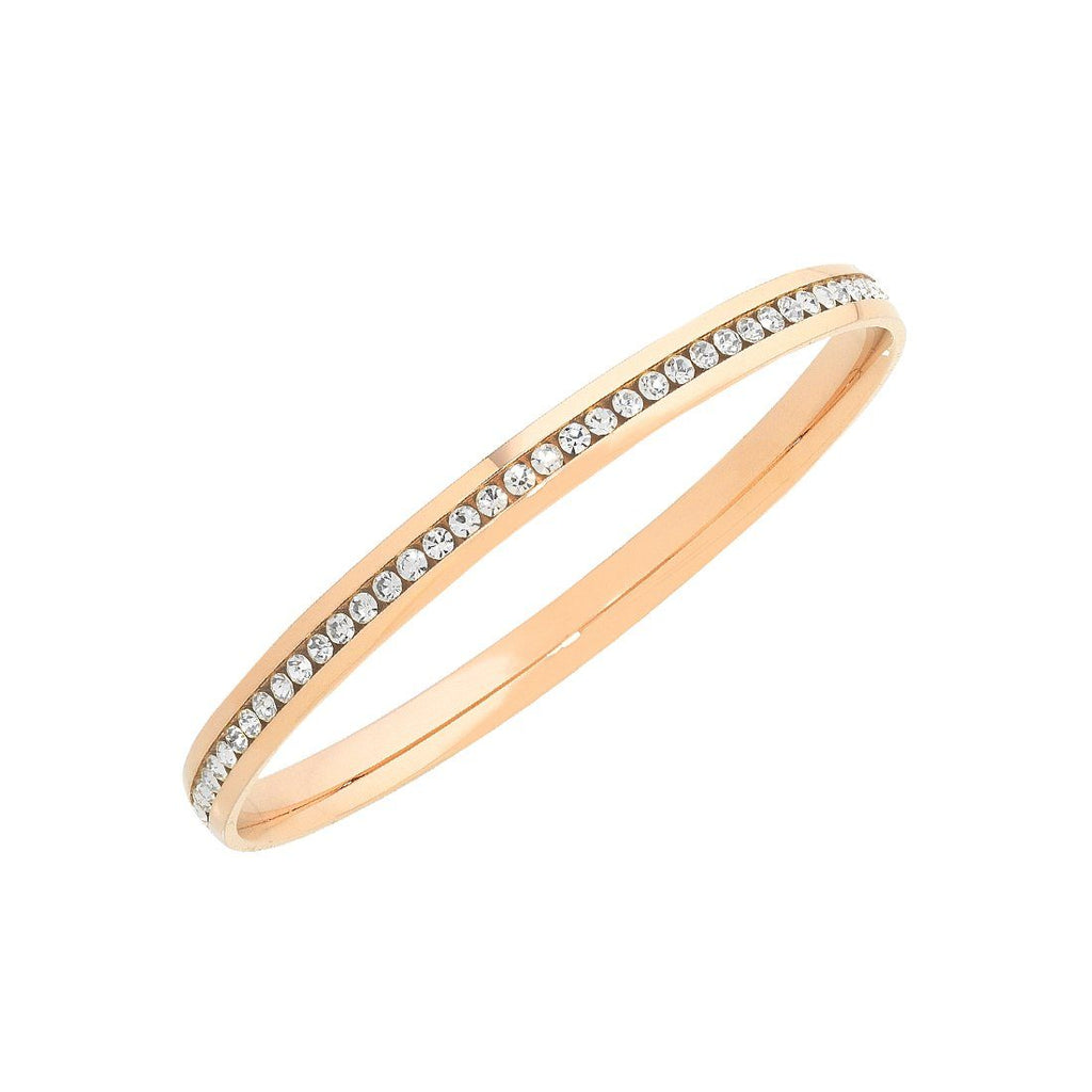 Rose Stainless Steel Channel Crystal Bangle 70mm