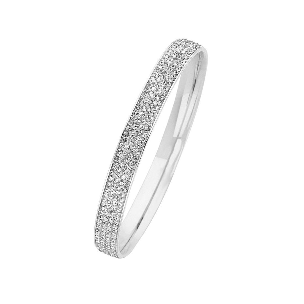 Stainless Steel White Crystal Pave Bangle Bracelets Bevilles