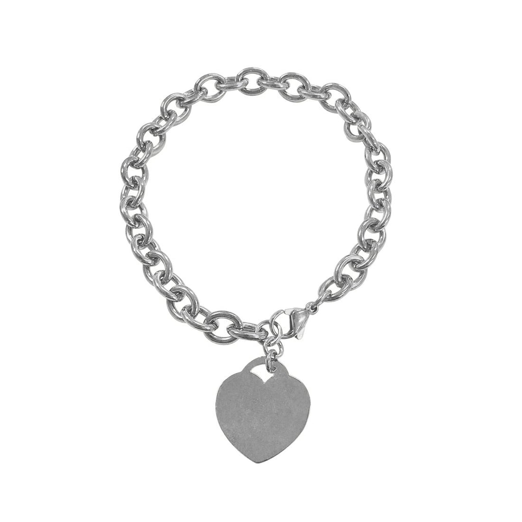 Stainless Steel Belcher Charm Bracelet With Heart