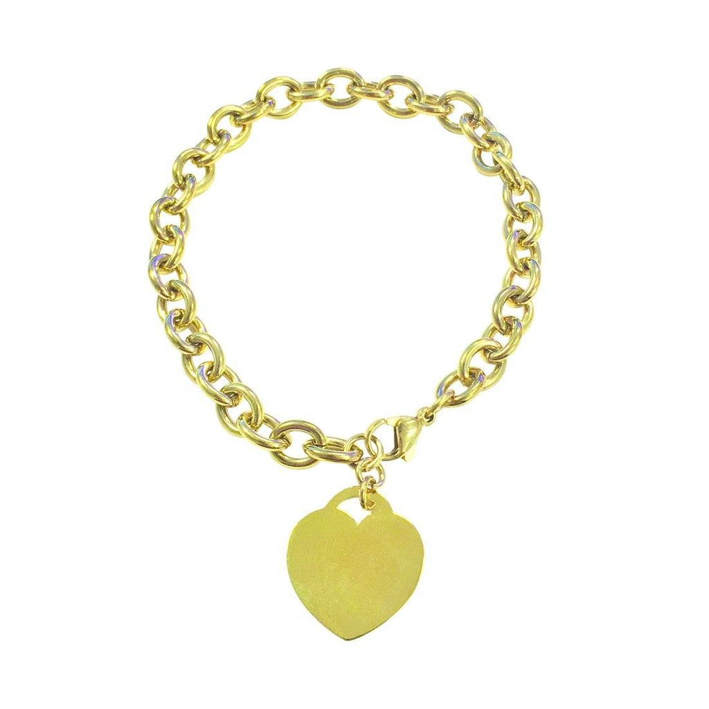 Stainless Steel Yellow Belcher Charm Bracelet With Heart