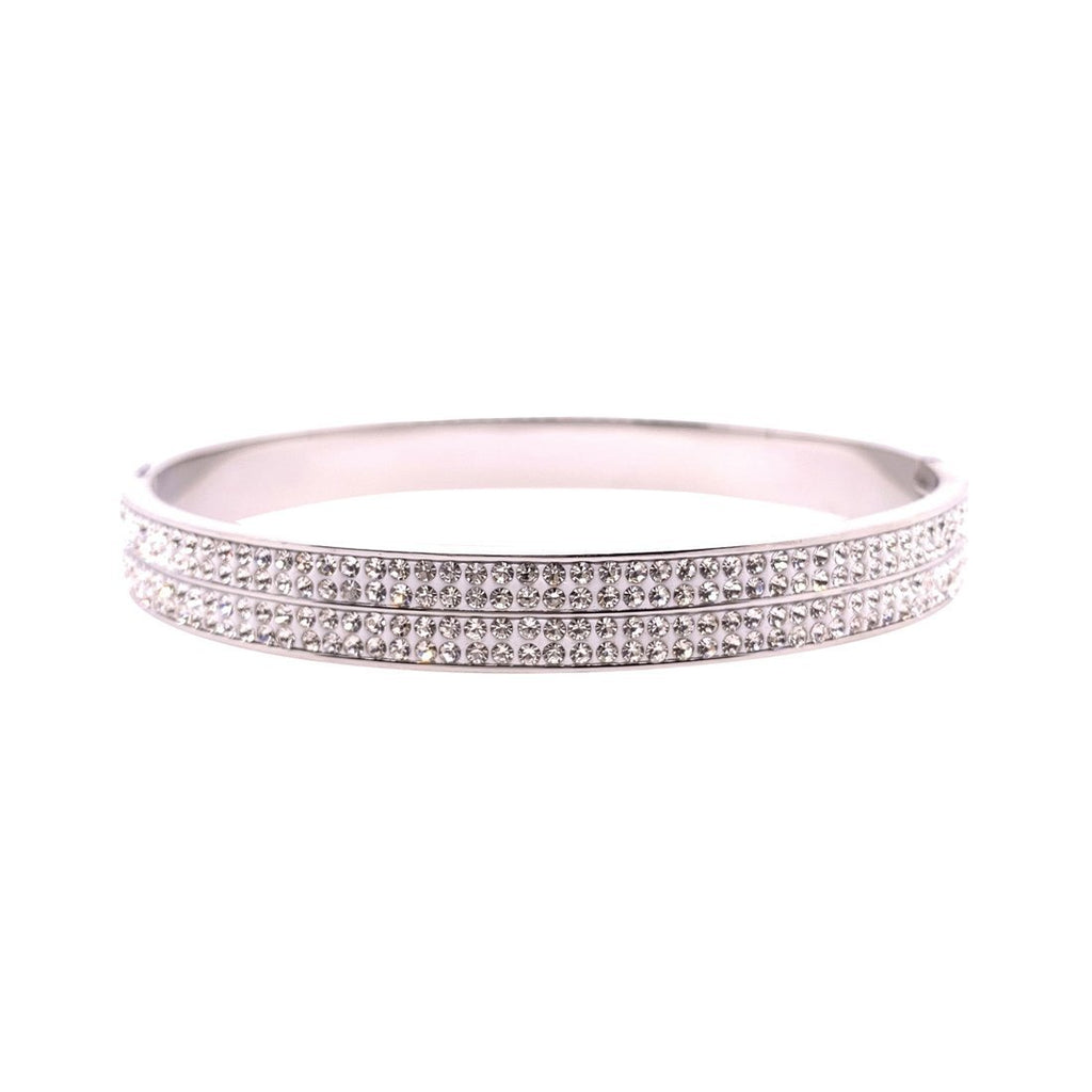 Stainless Steel 6mm Pave Crystal Bangle