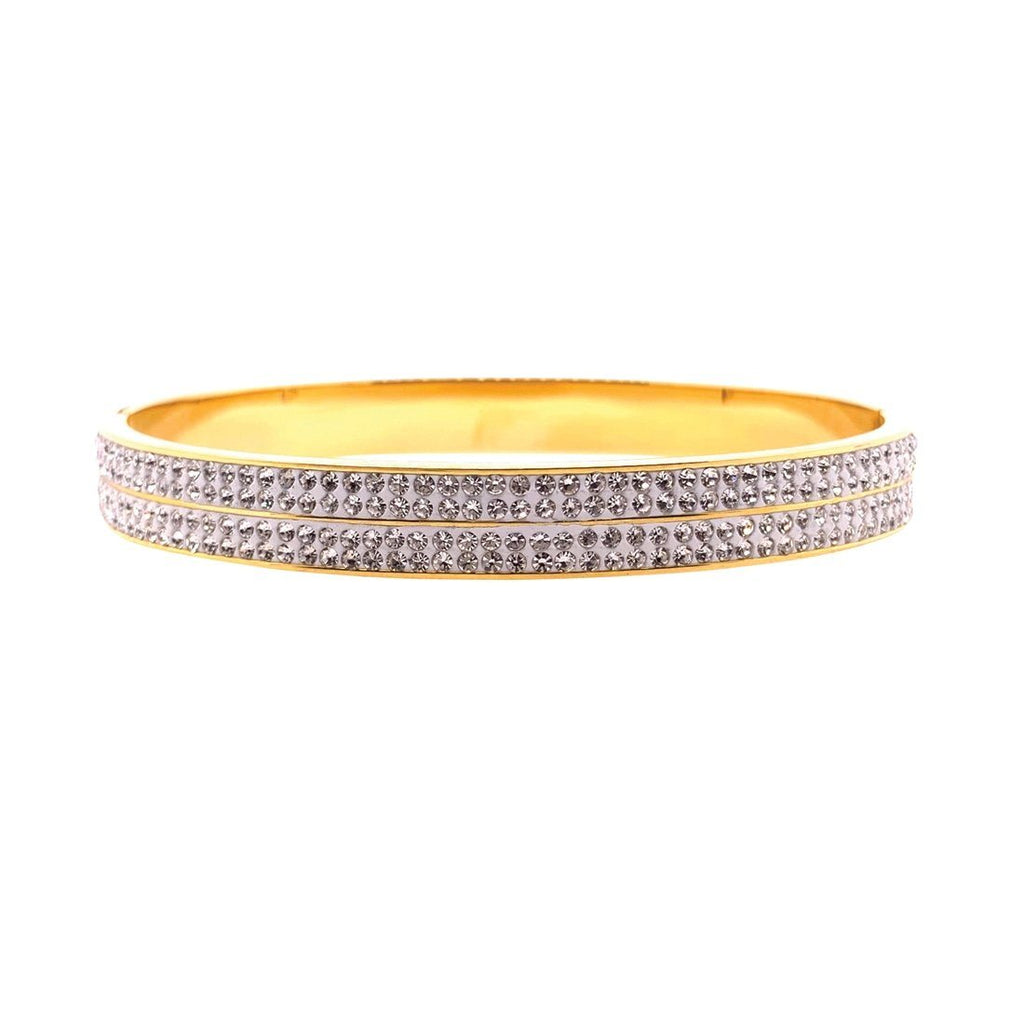 Yellow Stainless Steel 6mm Pave Crystal Bangle