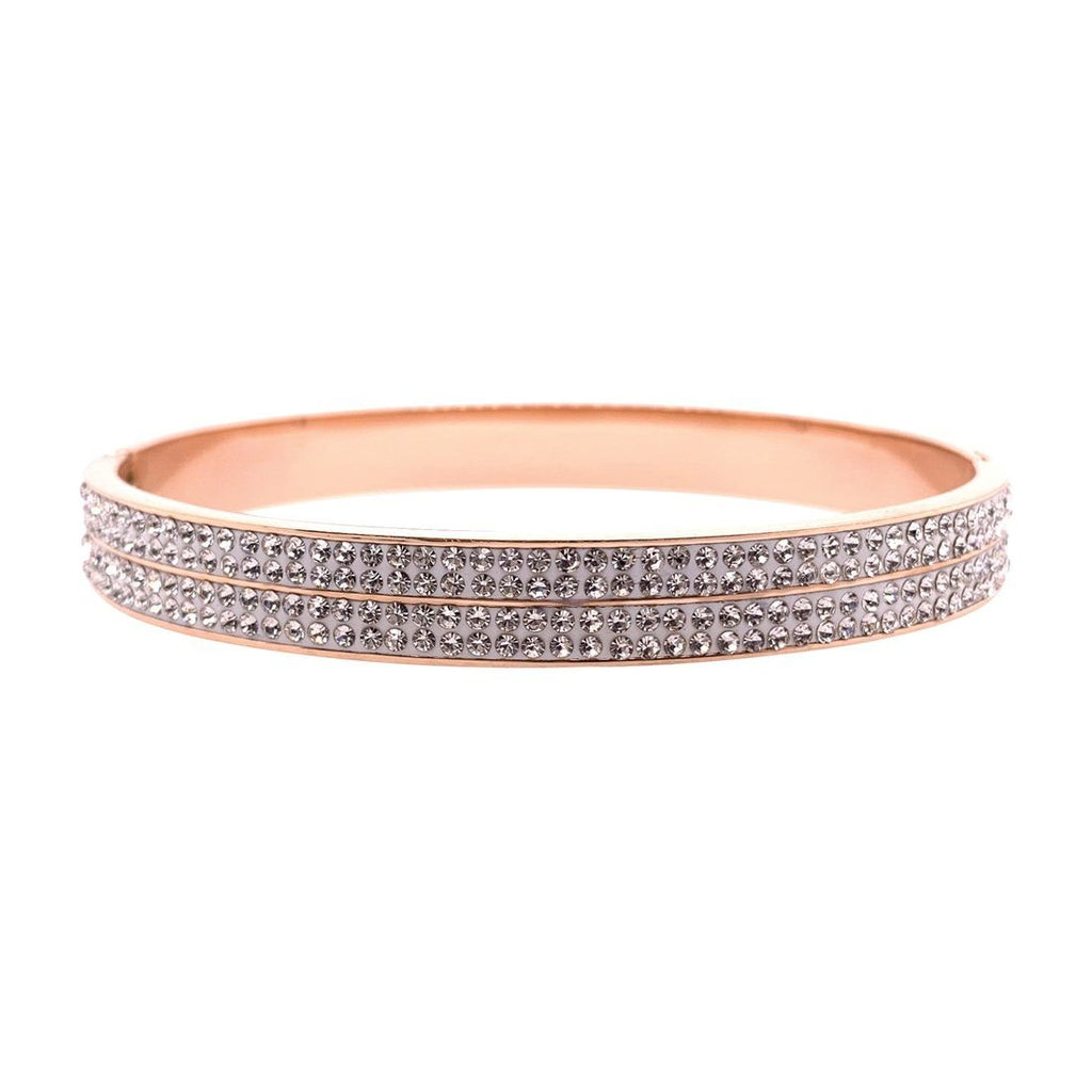 Rose Stainless Steel 6mm Pave Crystal Bangle
