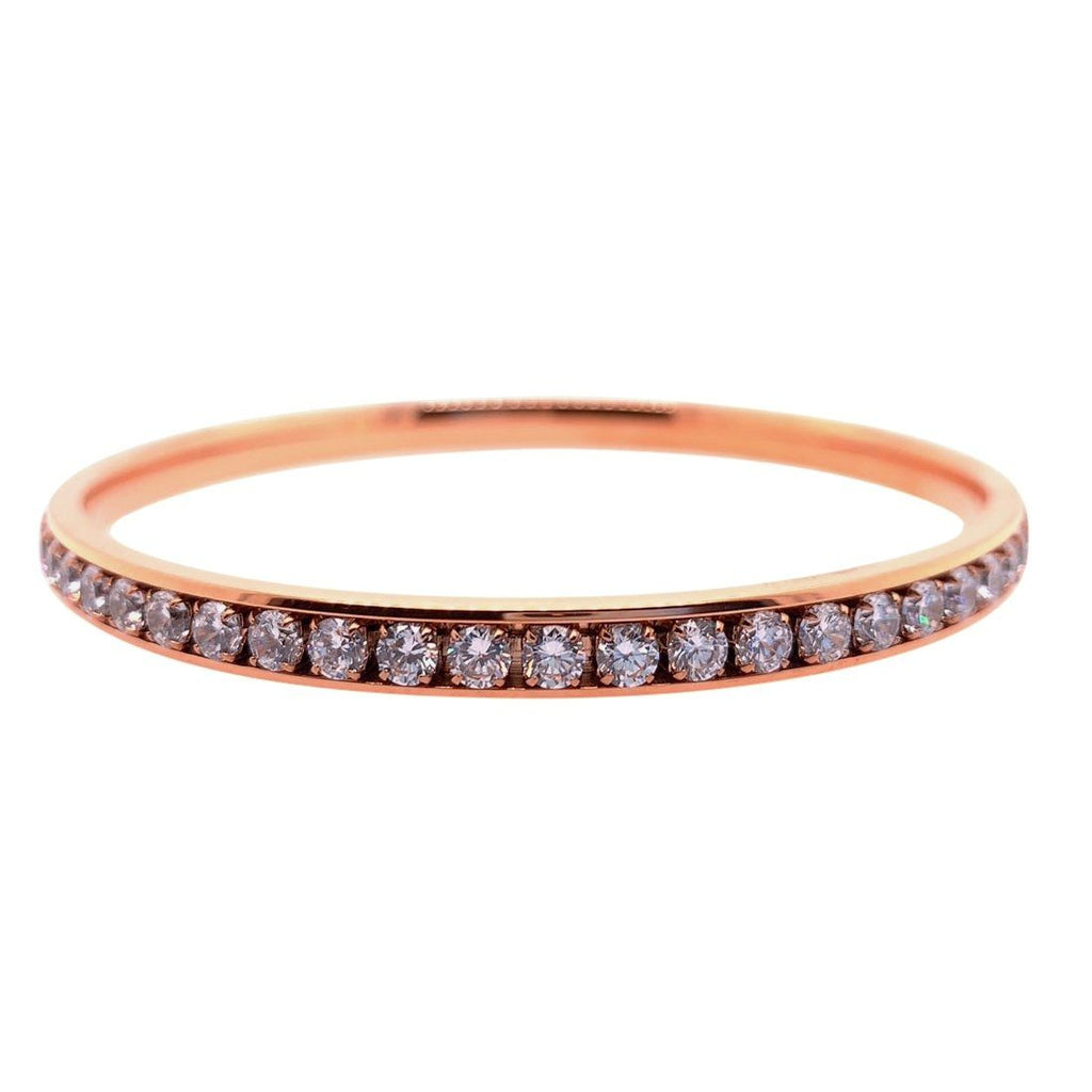 Rose Stainless Steel Crystal Channel Bangle