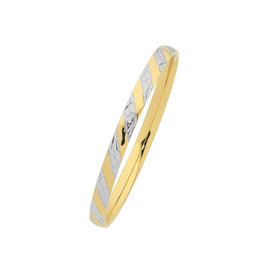Two Tone Yellow Stainless Steel Bangle Bracelets Bevilles
