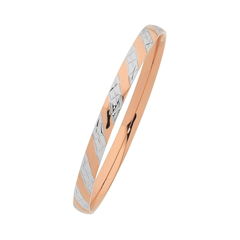 Two Tone Rose Stainless Steel Bangle